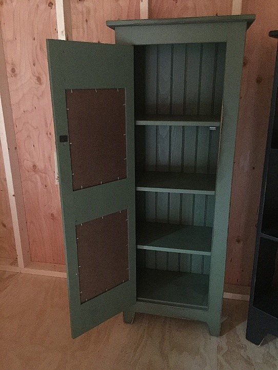 AMISH BARN-OPENED Sage Chimney Cabinet with Rustic Panels