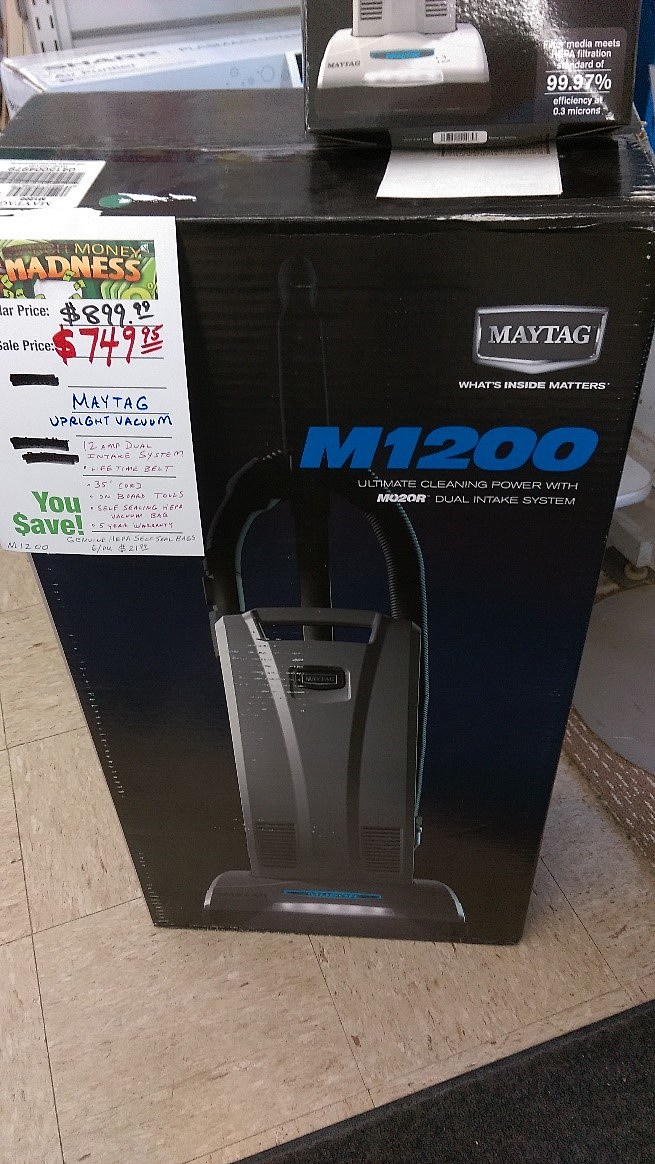 APPLIANCE PLUS-Maytag M1200 Vacuum Cleaner with bare floor attachment and 6 vacuum cleaner bags