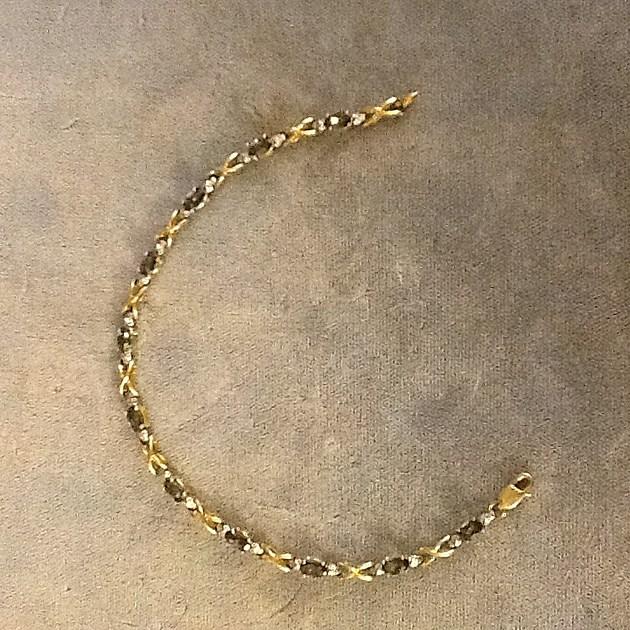 SILVERSMITH 5 -yellow-gold and mystic topaz bracelet