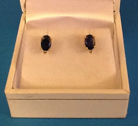 SILVERSMITH 6-yellow-gold sapphire and diamond ear studs