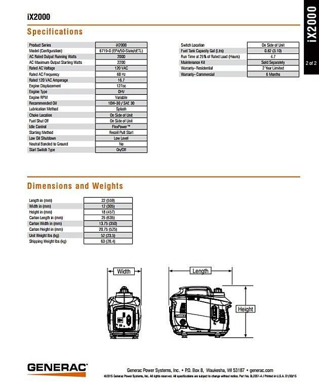 common ground- specs ix2000 generac generator