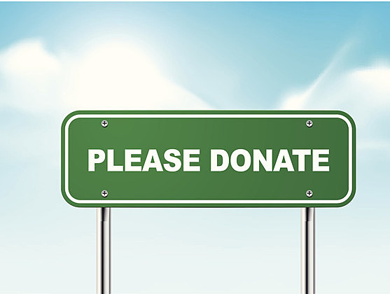 3d please donate road sign