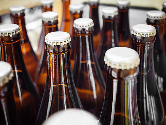 Beer Breweries packaging Bottles with cap close up