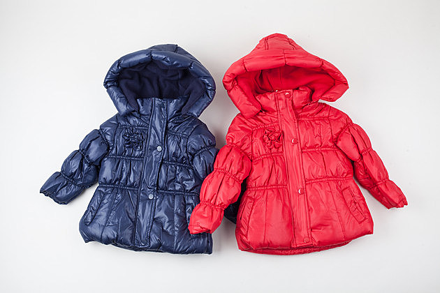 Two child warm jackets. Red and blue